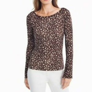 NWT White House Black Market Leopard Print Top M